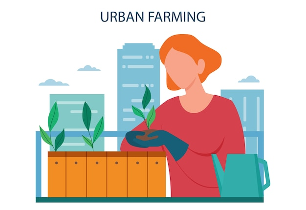 Urban farming or gardening concept