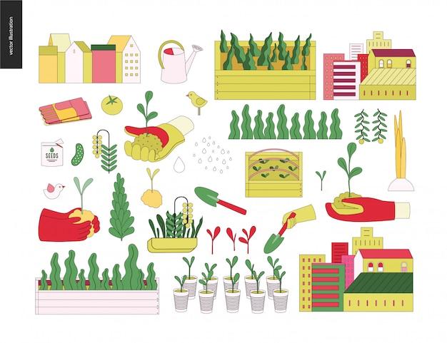 Urban farming and gardening elements