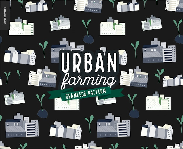 Urban farming and gardening - houses and sprouts pattern