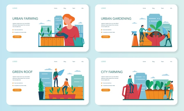Urban farming or gardening web banner or landing page set. city agriculture. people planting and watering the sprout on the roof or balcony. natural organic food.