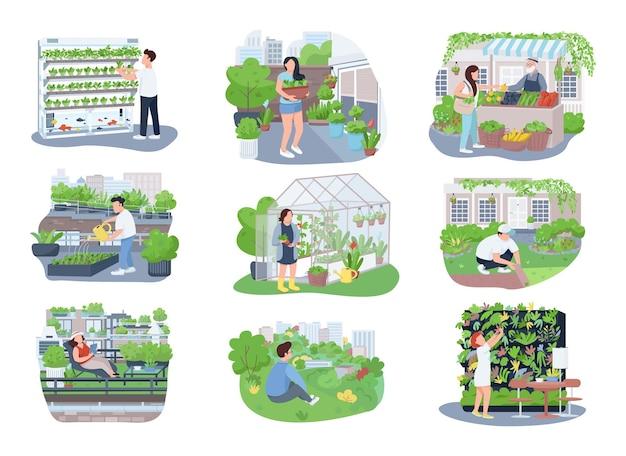 アーバンガーデニング2dウェブバナー、ポスターセット。庭師、園芸家は漫画の背景にフラットなキャラクター。農業、植物栽培の印刷可能なパッチ、カラフルなウェブ要素。