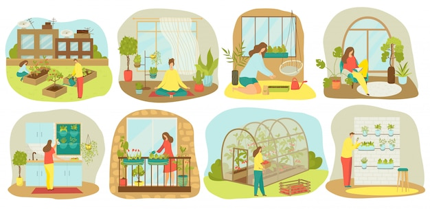 Urban gardening, plants and vegetables or agriculture set of  illustrations. planting garden on balcony, in kitchen, wooden seedbeds, vertical and roof farming and hydroponics, urban garden.