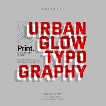 Urban glow bold typography tshirt 텍스트 효과 편집 가능한 프리미엄 벡터