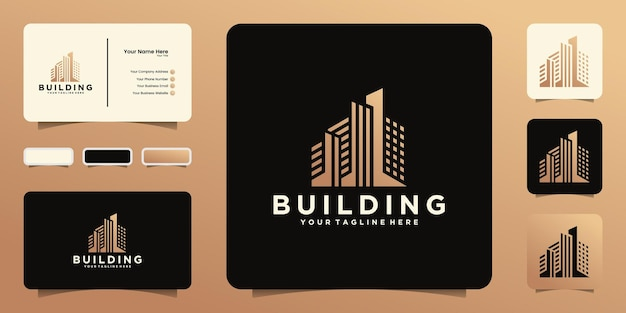 도시의 고층 건물 로고 및 명함 영감