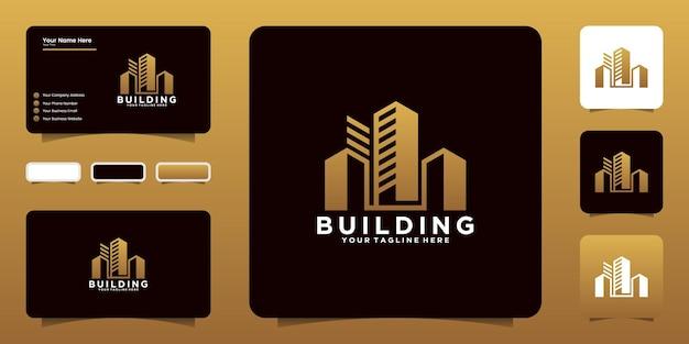 도시 고층 로고 디자인 영감, 건물, 도시 및 명함