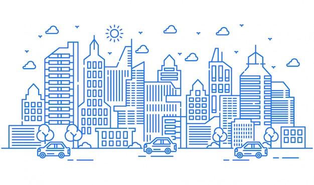 Городская иллюстрация с большим зданием оборудованным автомобилями и деревьями. городские мероприятия