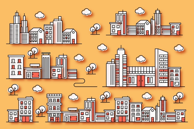 Urban illustrations with various shapes of buildings in the style of paper with trees