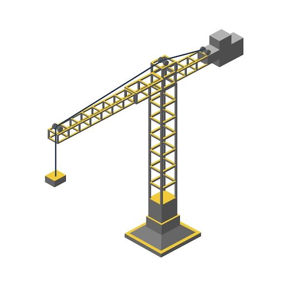 都市の工業用アイソメトリック3d建築フラットプラン。三次元クレーン図面と建設計画