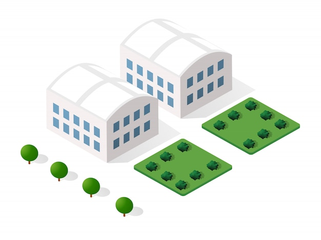 Urban industrial isometric architectural flat plan