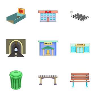 Urban infrastructure icons set, cartoon style