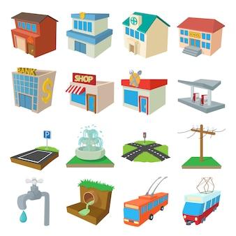 都市インフラストラクチャのアイコンを設定する漫画スタイルのベクトル