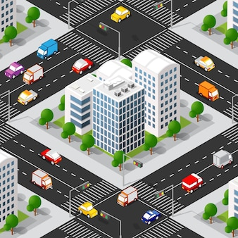 Urban isometric 3d of city block with houses, streets, cars.