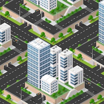 Urban isometric 3d of city block with houses, streets.