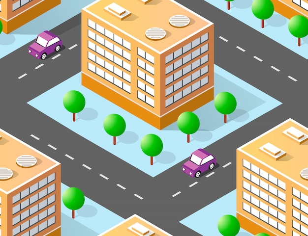 Urban isometric area with building trees lawns