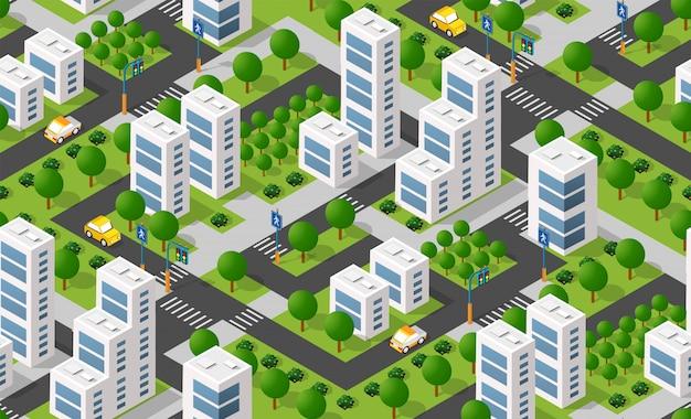 都市等尺性エリア Premiumベクター