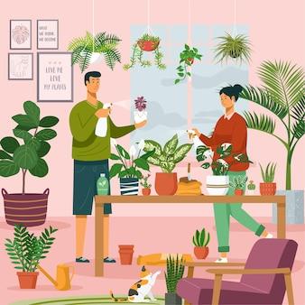 アーバンジャングル。屋内鉢植えの植物を植える若いカップル。