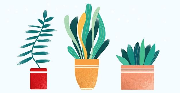 スカンジナビアスタイルのフラットベクトルイラスト植木鉢のアーバンジャングル植物