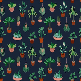 Urban jungle. vector seamless pattern.