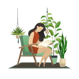 都会のジャングル。庭の家の熱帯の緑のヤシとハンギングデコレーションポット植物イラストの下で女性の読書と編み物の女性