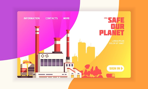 Urban landing page for environmental defense websites with power plant and caption safe our planet  illustration