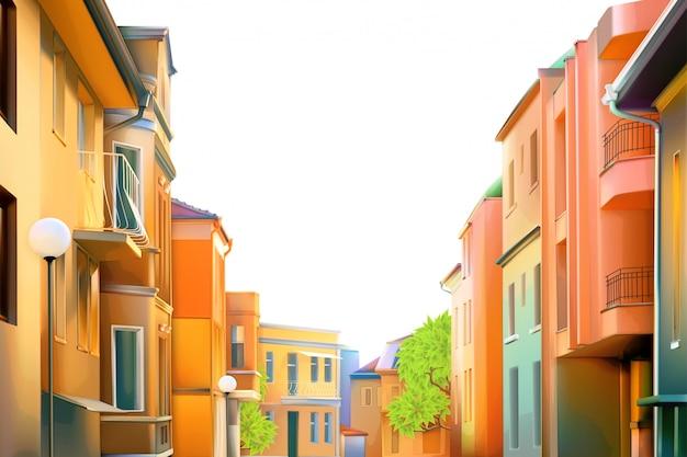 Городской пейзаж, типичная жилая улица провинциального городка, иллюстрация, уютные дома на заднем плане, прекрасный вид на город в прекрасный солнечный день