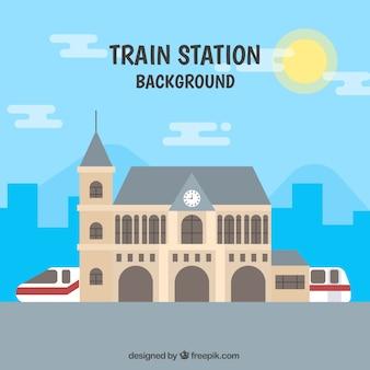 Sfondo paesaggio urbano con treno in disegno piatto