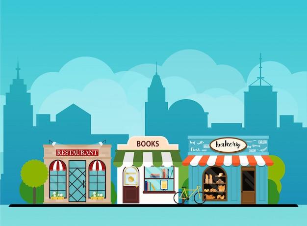 都市景観の本屋、パン屋、レストラン。