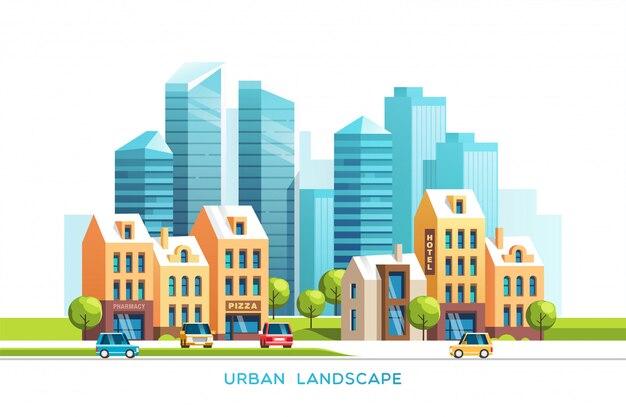 都市景観。高層ビルと伝統的な建物や家、木、車のある都市。図。