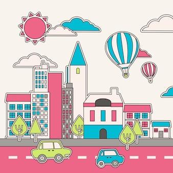 선 스타일의 도시 풍경 개념 그래픽