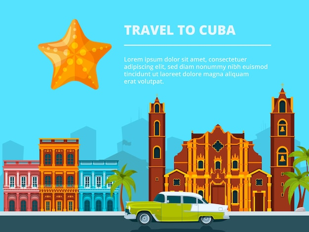 Urban landscape of cuba. different historical symbols and landmarks. travel and tourism, cityscape cuba, building city and landscape urban.