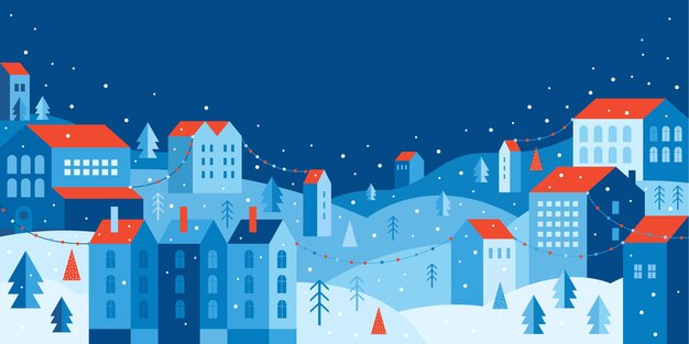 幾何学的な最小限のフラットスタイルの都市景観。新年とクリスマスの街。横バナー