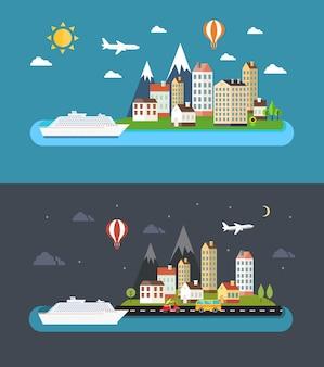Городской пейзаж в плоском стиле. город днем и ночью векторные иллюстрации