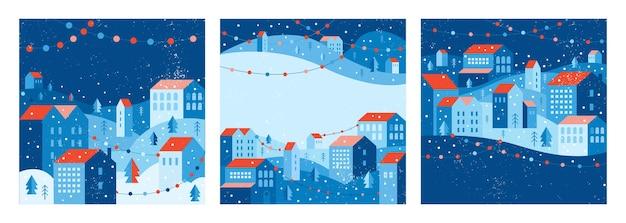 幾何学的なスタイルの都市景観。新年とクリスマスの街。ソーシャルメディアテンプレート、アプリ、バナー