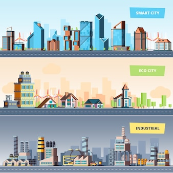 Urban landscape. industrial smart and eco city modern buildings air pollution flat banners