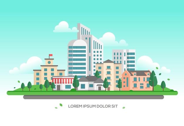 도시 풍경-텍스트에 대 한 장소를 가진 현대 벡터 일러스트 레이 션. 고층 빌딩과 작은 저층 건물과 집, 나무, 하늘의 구름이 있는 아름다운 도시 또는 도시