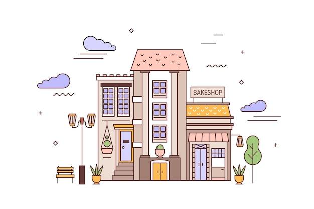 Городской пейзаж или городской пейзаж с фасадами жилого дома и пекарни. вид с улицы на городской район с элегантным домом и пекарней или пекарней. красочные векторные иллюстрации в линейном стиле.