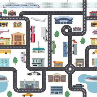 Urban landscape pattern with different shops, buildings, offices and transport