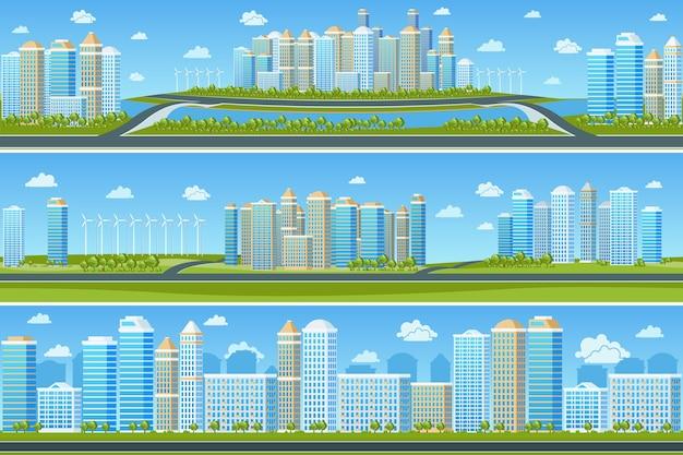 현대 도시와 도시 풍경 설정. 도시 건물, 나무와 마을, 벡터 일러스트 레이 션