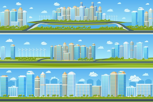 Urban landscape set with modern city. cityscape building, tree and town, vector illustration