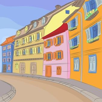 다채로운 주택이 있는 오래된 유럽 거리가 있는 도시 풍경