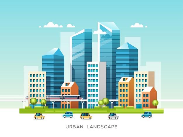 Городской пейзаж со зданиями, небоскребами и городским транспортом. концепция недвижимости и строительной отрасли.