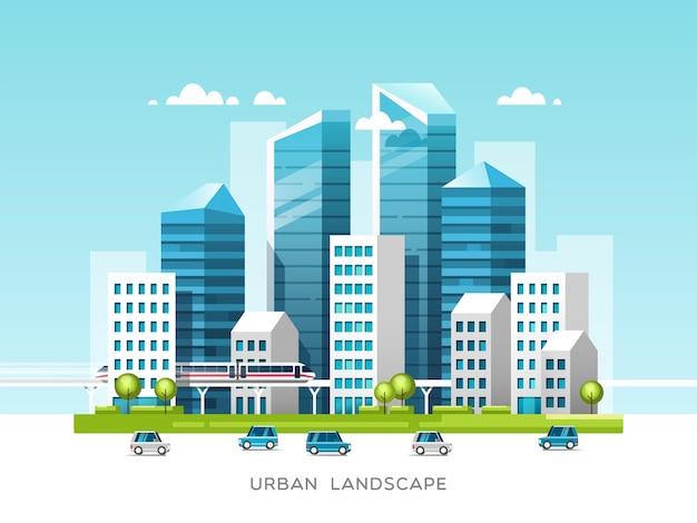Городской пейзаж со зданиями, небоскребами и городским транспортом. концепция недвижимости и строительства.