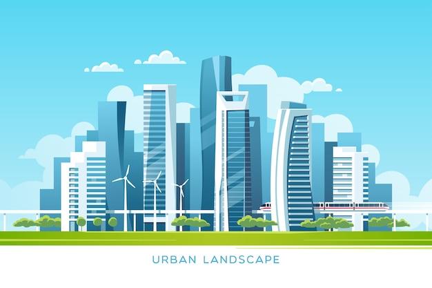 Городской пейзаж с небоскребами зданий и метро иллюстрация концепции недвижимости и строительной отрасли