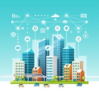 Городской пейзаж со зданиями, небоскребами и транспортным потоком. концепция умного города с разными значками.