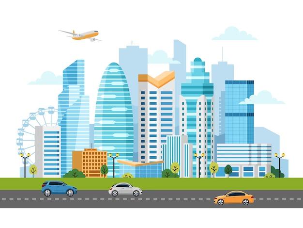 건물, 고층 빌딩 및 교통 교통이있는 도시 풍경.