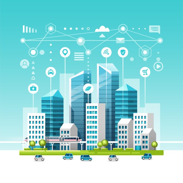 Urban landscape with buildings, skyscrapers and transport traffic. concept of smart city with different icons.
