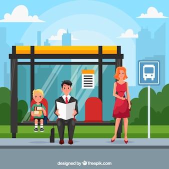 Городской пейзаж с автобусной остановкой