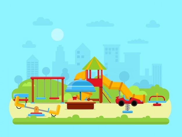 Городской пейзаж с парком и детской площадкой