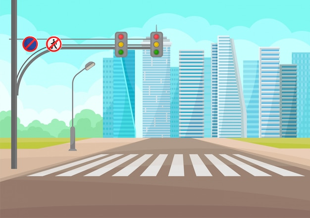 Urban landscape with road, crosswalk, traffic signs and lights, high-rise buildings