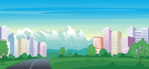 Urban landscape with skyscrapers, buildings and city park. Premium Vector